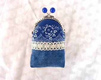 Coin purse, Denim cigarette case woman, Fabric privacy pouch,  Denim purse, Cute cigarette purse, Clasp purse, Kiss lock coin purse