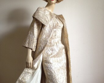Reserved Vintage 50s Fredericks of Hollywood Gold Silver Lame Wiggle Shelf Bust Dress and Coat L Large  1950s 1960s 60s