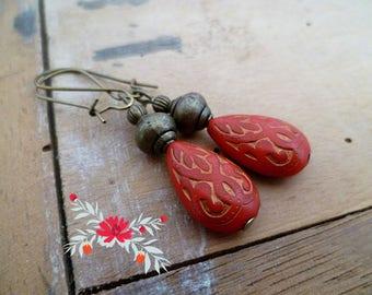Ethnic red earrings, bohemian earrings, bohemian wedding, mother's day, woman gift