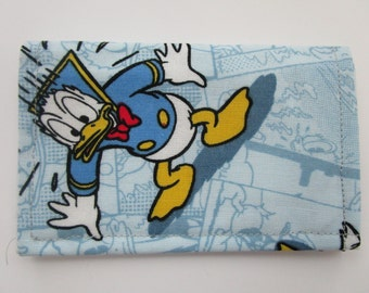 Disney, Minimalist Wallet, Business Card Holder, Travel Wallet, Small Wallet, Fabric Wallet, Credit Card Wallet, Disney Cruise, Donald Duck