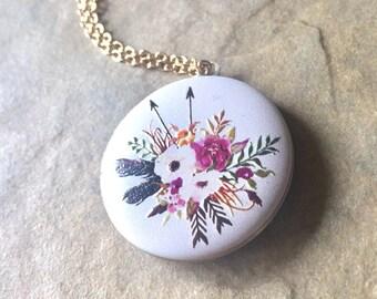 Locket Necklace, Message Locket, Graduation Gift, Personalized Locket, Flower Locket, Hand Stamped Message Locket, natashaaloha