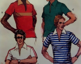 FITTED PULLOVER SHIRT Pattern • Butterick 5936 • Mens 42 • Knit Pullover • Slit Neck Shirt • Sewing Pattern • Mens Pattern • WhiletheCatNaps