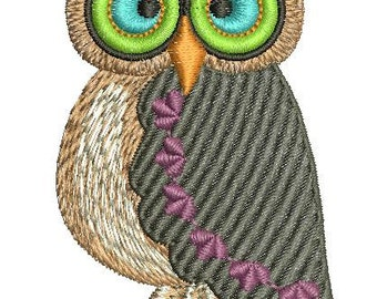 Owl  - Machine Embroidery Design - 75*42mm / 6500 stc 100*55mm / 9000 stc.