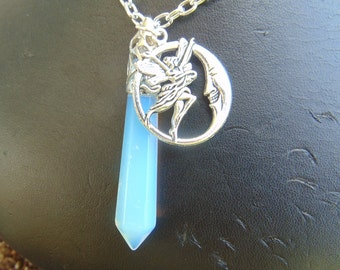 necklace, opalite glass, moon fairie