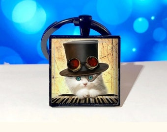 Steampunk Kitten Pendant, Necklace or Key Chain - Choice of 4 Bezel Colors - Steampunk, Hat, Cute, Piano