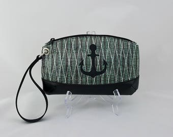 Green Sailcloth Wristlet with Black Anchor - Green Nautical Lining - Recycled Carbon Fiber Sail Cloth Bag