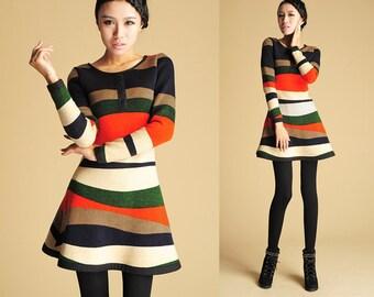Color block Dress, Winter Mini Dress, winter Color block Dress, tunic dress, Womens Sweater Dress, Long Sleeve Dress, womens dress (423)
