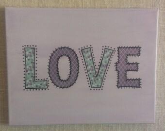 Love Canvas Art in Lilac Teen Canvas Art Paint and Paper Canvas Art Teen Decor Baby Decor Nursery Decor