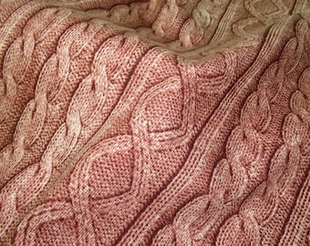 2461C -- Knit Cable Look , Diamond and Rib Print Fabric in Burnt Umber , Wash Effect Look , Japanese Cotton, Cosmo Textile