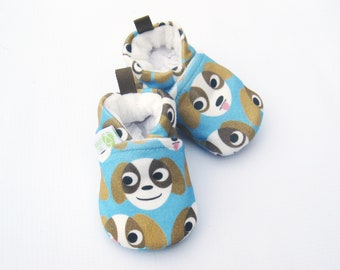 Organic Knits Vegan My little Puppy / All Fabric Soft Sole Baby Shoes / Made to Order / Babies