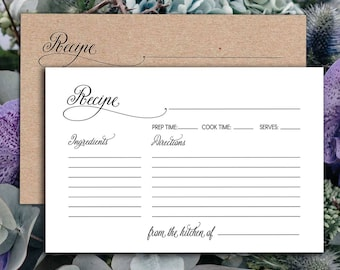 Recipe cards printable, printable recipe cards, Recipe cards for bridal shower, recipe cards 4x6, recipe card template, PDF Instant Download