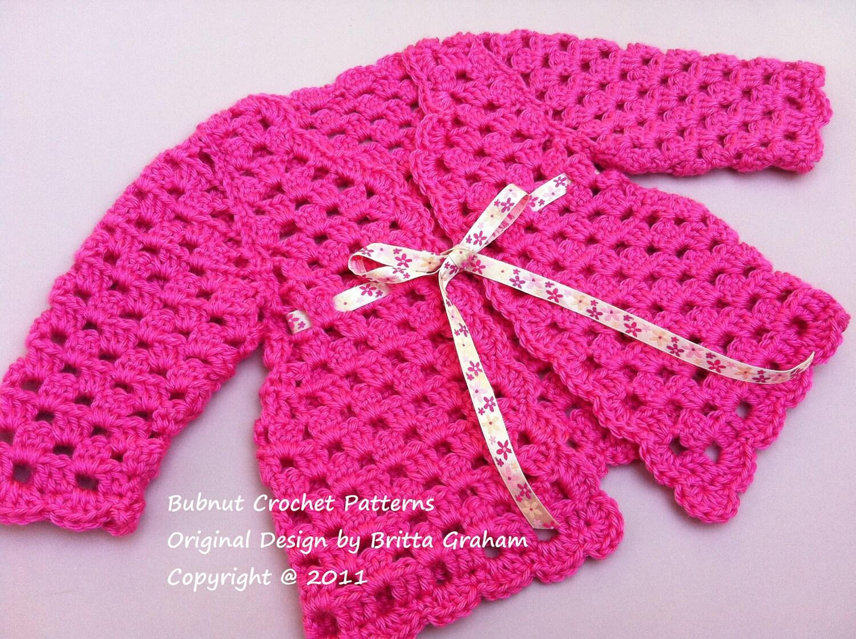 Crochet Baby Cardigan Pattern Sweater Crochet Pattern No.905