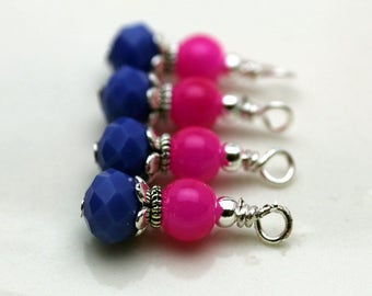 Fuschia Pink and Royal Blue with Silver Bead Dangle Charm Drop Set, Anime Charm, Girls Necklace Pendant, Pink Dangles