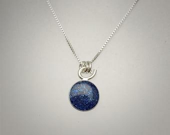 Sterling Tiny Navy Resin Necklace