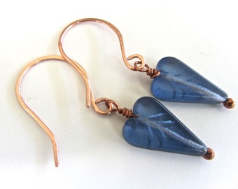 Unusual glass beaded EARRINGS ~ Once side is a pretty blue and the other a frosted green Copper ear wires
