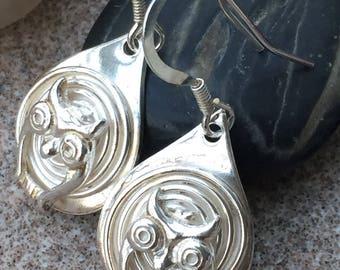 Solid silver drop owl earrings