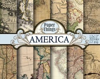 Old World Map, Vintage Maps, Digital Antique Maps, Printable Maps Paper, Maps Digital Paper Backgrounds America Maps Pack 12 Printable T2