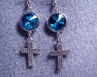 Christian Catholic Handmade Aquamarine Swarovski Crystal Cross Earrings