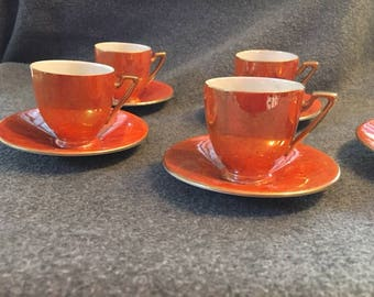 Amazing Retro espresso/demitasse iridescent mother of pearl cups and saucers- VINTAGE- GORGEOUS!