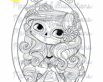 CATRINA-INSTANT DOWNLOAD.  Digital stamp, coloring page, temporary tatoo, line art illustration.  Personal use