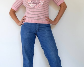 Vintage 80s 90s Faraway Land Pink and Grey Striped Knit Pullover Short Sleeved Sweater with Sequined Castle Applique (size medium, large)