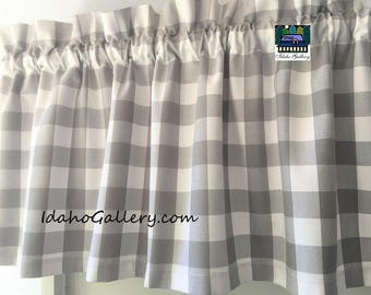 Buffalo Check Gingham 1 inch Gray and White Check Kitchen Curtain Country Curtain 14 x 43 Retro Style or Farmhouse Valance by Idaho Gallery