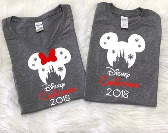 Disney SNOWFLAKE CASTLE with 2018, RED Disney christmas and 2018 below,Disney inspired shirt,Family Vacation shirts,Disney christmas shirts