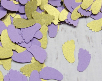 Baby Shower Decor Purple ~ Lavender and mint baby feet confetti purple and green baby