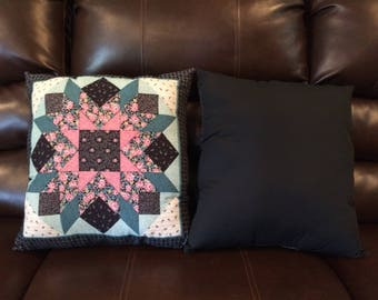 Patchwork Print Pink & Turquoise Vintage Pillows