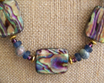 Mother of Pearl Rectangle Necklace Set, Abalone Jewelry Violet Green Gray Shell Jewelry, Rainbow necklace,Geometric jewelry, #127