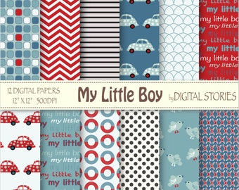 "Baby Boy Digital Paper: ""MY LITTLE BOY"" red blue chevron cars for scrapbooking, invites, cards - Instant Download"