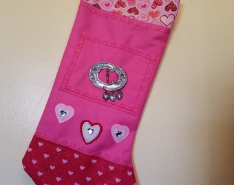 """Valentine Stocking """"I love you with all my hearts"""""""