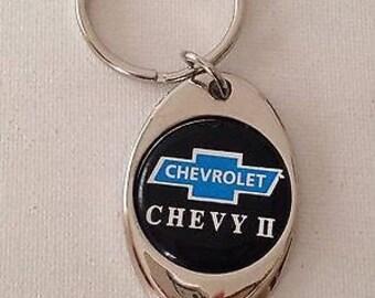 Chevy II Keychain Chrome Plated Solid Metal Key Chain
