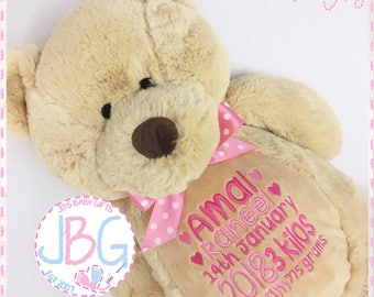 Personalised teddy bear, embroidered bears, personalised baby gift, christening or new baby gift, birth stats, any text embroidered, teddy