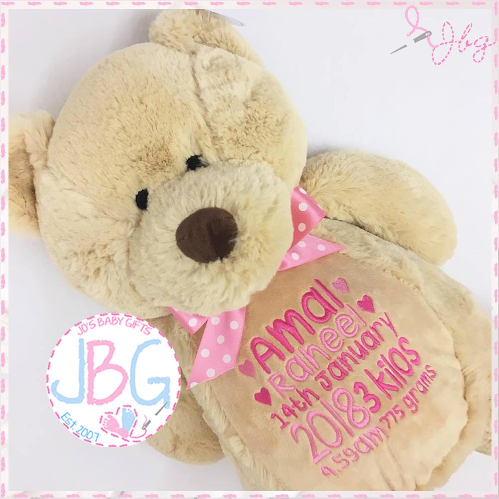Personalised teddy bear embroidered bears personalised baby gift personalised teddy bear embroidered bears personalised baby gift christening or new baby gift birth stats any text embroidered teddy negle Gallery