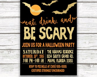 Halloween Party Invitation, Eat Drink and Be Scary Halloween Invitation, Printable Halloween Invitation, Halloween Party Invite