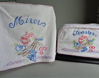 Vintage Mixer and Toaster Cover Set Cotton Embroidered Used