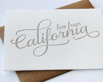 Letterpress Greeting card - Regional Love from California
