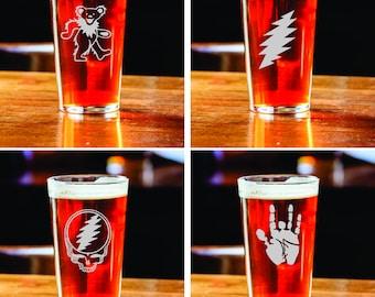 Set of 2 Dead Set - Pick Your Own - Pint Glasses - Grateful Dead