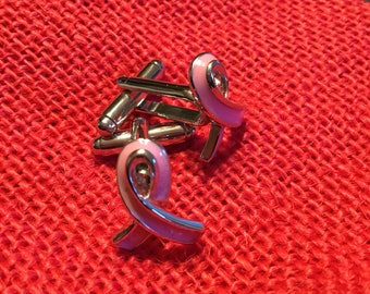Pink Ribbon Breast Cancer Awarness Cufflinks
