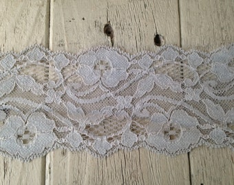 New-WIDE Stretch Lace  GRAY no.123 -3 inch -2 yards for 3.99