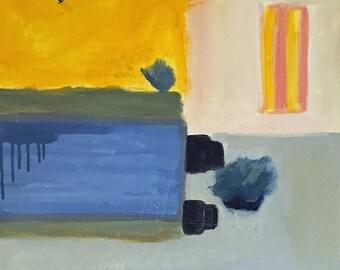 Abstrakte Malerei, zeitgenössische Kunst-Schwimmbad-gelb und blau 20 x 20
