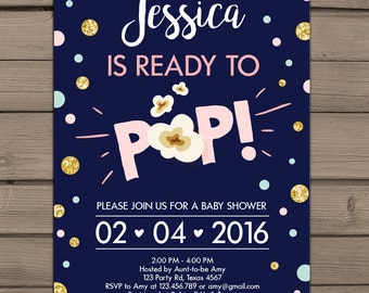 Ready to pop baby shower invitations pink blue gold instant ready to pop baby shower invitation about to pop shower pink and gold baby shower girl filmwisefo