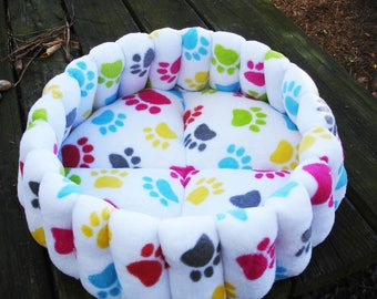 Dog beds, cat beds, pet bed, small dog bed, kitty cat bed, washable pet bed, round cat bed, deep dog bed, white pet bed, paw print bed