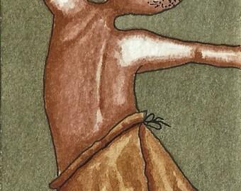 ACEO. Artist trading card. Original watercolour.'Tarzan's Let Himself Go a Bit.'