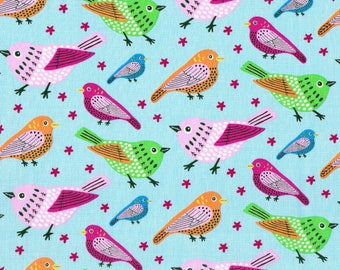 Luminous blue cotton fabric with lovely birds