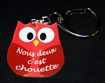 """Red OWL Keychain with message """"We're nice"""""""