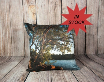 Decorative Pillow Covers, Scenic Photo Cushion Case, Man Cave Decor, Lake House Cottage Accent, Handmade in Canada,Green Tree Branch