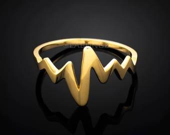 Gold Heartbeat Pulse EKG Nurse Ring (yellow, white, rose gold)