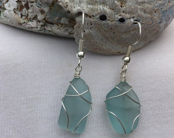 Turquoise Beach Glass Earrings